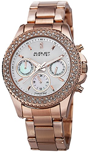 August Steiner Women's Swiss Quartz Multifunction Diamond & Crystal Rose-tone Bracelet Watch