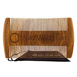 Wild Wild Nest Beard Comb Pocket size, Natural Sandalwood, Aromatic Scent No Static or Snagging Handmade for Beard and Mustache, 100% Natural Green Fine Tooth, for Long and Short Hair Premium