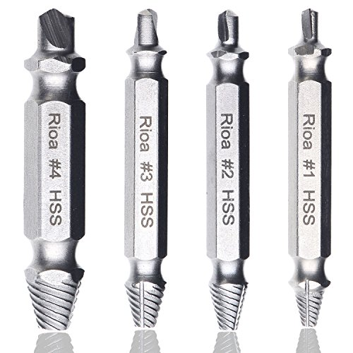 Rioa Damaged Screw Remover Set. Damaged Screw and Bolt Exctractor Set Easily Remove Stripped or Damaged Screws. Made From H.S.S. 4341#, the Hardness Is 62-63hrc (Screw Extractor Left Hand Drill compare prices)