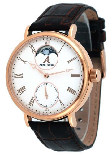 Adee Kaye #AK7118-MRG Men's Leather Strap Moon Phase Dual Rotor Automatic Watch