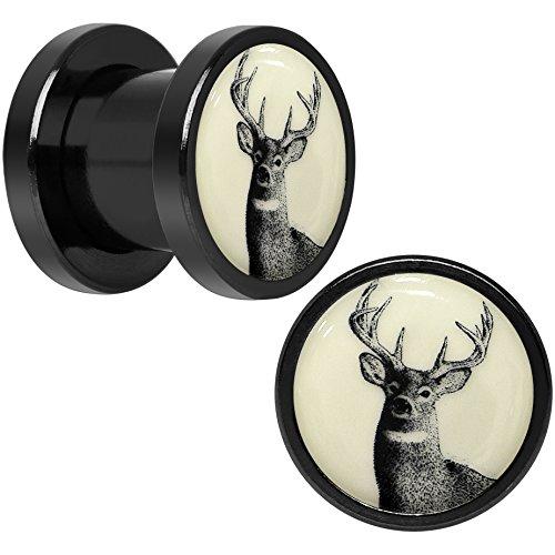 Body Candy Black Anodized Steel Buck Deer Glow in the Dark Screw Fit Plug Pair 0 Gauge (Glow In The Dark 0 Gauge Plugs compare prices)