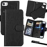 For iPhone 7 Plus / 8 Plus (5.5''), Urvoix Wallet Leather Flip Card Holder Case, 2 in 1 Detachable Magnetic Back Cover iPhone 7PLUS / 8 Plus (NOT for iPhone7) Black