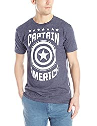 Marvel Men's Captain Varsity T-Shirt, Navy Heather, X-Large