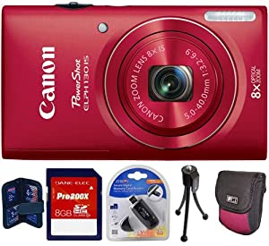 Canon PowerShot ELPH 130 IS 16.0 MP Digital Camera (Red) + 8 GB Kit