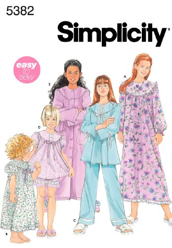 Simplicity Nightgown Long or Short Pajamas