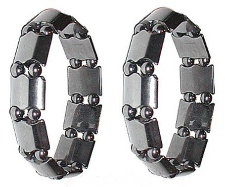 Set Of 2 Men's Hematite Metal Magnetic Therapy Bracelets S06C3-Med
