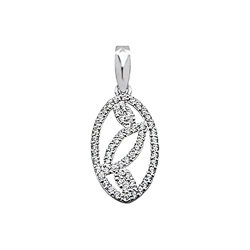 18k white gold pendant rhinestones oval leaves [AA4847]
