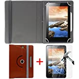 "Hello Zone Exclusive 360° Rotating 7"" Inch Flip Case Cover + Free Tempered Glass For I Kall K1 Tablet -Brown"