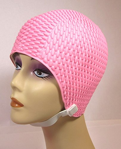 Aquapro Vintage Style Bubble Crepe Swim Cap with Chin Strap (Adult Size)