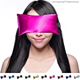 Hot Cold Unscented Eye Pillow and Free Eye Mask for Sleep, Yoga, Migraine Headaches, Stress Relief. By Happy Wraps - Pink