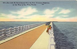 1940s Vintage Postcard - View on Overseas Highway to Key West Florida