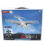 Cheerwing Syma X5SW UAV FPV 2.4Ghz 4CH 6-Axis Gyro RC Qucopter Drone UFO Headless Mode with 0.3MP HD Wifi Camera Support IOS Android RTF (White)