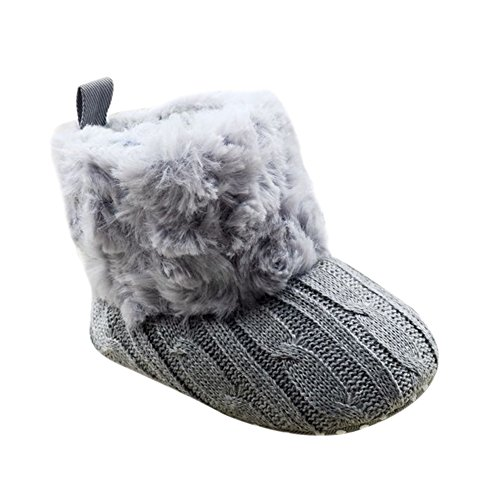 Weixinbuy Baby Girls Knit Soft Fur Winter Warm Snow Boots Crib Shoes (S(0-6 months), Grey)