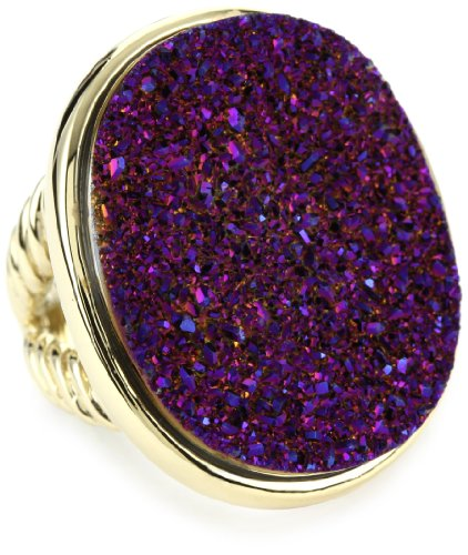 ANDARA Big Oval Purple Psychadellic Drusy Ring, Size 8