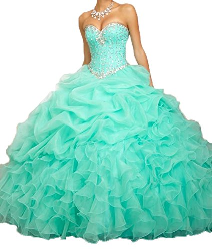 Romantic Women's Beaded Ball Gown Sweetheart Quinceanera Dress Formal Prom Gowns (8