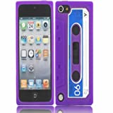 Retro Cassette Silicone Case Cover Shell For Apple iPod Touch 5 5th Generation / Purple