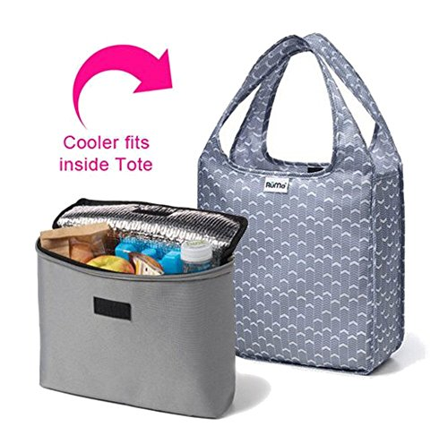 RuMe Bags Mini Tote with 2Cool Insulated Lunch Bag Cooler Set of 2 (Marshall Grey) (Sleepaway Camp Box Set compare prices)