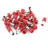 50 Pcs 16mm2 Crimp Cord End Terminal Bootlace Ferrule Connector Red