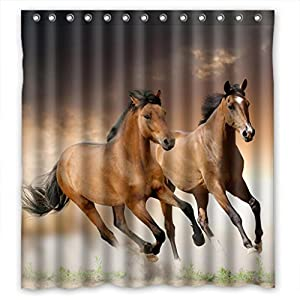 brown galloping horse shower curtain measures