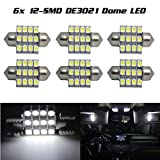 Partsam6x White 12SMD LED Courtesy MAP/DOME INTERIOR LIGHTS BULBS/BULB 28MM FESTOON For 2011 2012 Hyundai Sonata