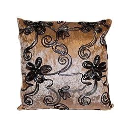 40x40 Designer Vintage Style Cushion Beige Velvet Feel with Black & Silver Trim