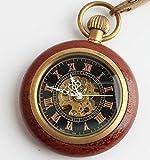 (よんピース)4 piece 懐中時計 木製 ウッド懐中時計 アンティーク 手巻き レトロ 機械式 KH0074
