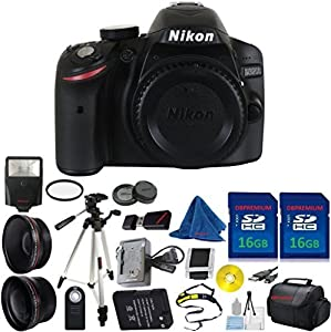 Nikon D3200 24.2 MP CMOS Digital SLR Body DBPREMIUM Bundle + 2pcs DBPREMIUM 16GB Memory Card + Case + Card Reader + Tripod + DBPREMIUM Starter Kit + Wide Angle + Telephoto + Flash + U.V. Filter