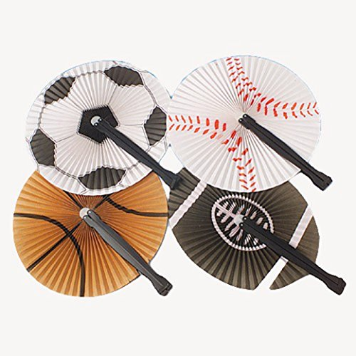 Lot Of 12 Traditional Japanese Style Assorted Sports Designs Paper Folding Fans