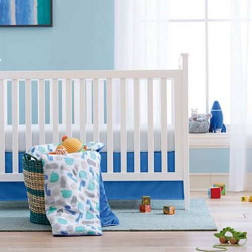 giggleBABY Blue Jungle Soup Collection 3 Piece Crib Bedding