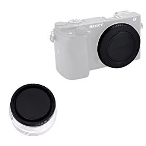 (2 Pack) VKO Front Body Cap & Rear Lens Cap Replacement for Sony a6400 a6500 a6300 a6000 a5100 a5000 A7SII A7R/S A7RII NEX-5 5R 5N 6 7 E Mount Camera Body & Lens, Replaces ALCB1EM ALCR1EM (Tamaño: For Sony E Mount)