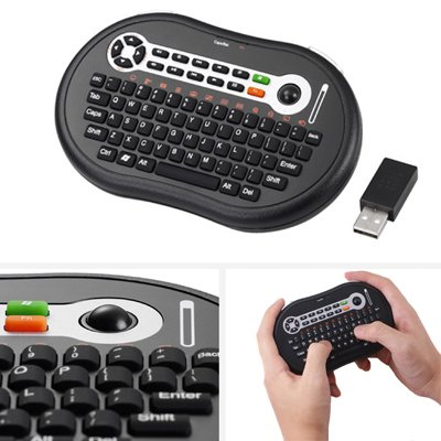GMYLE (TM) Palm Size Mini Wireless 2.4GHz RF 10M Windows Media Center Remote Multimedia MCE keyboard US Layout w/ Mouse Trackball & 11 Hot Keys for XP/Vista/Windows 7/HTPC/Xbox 360/PS3