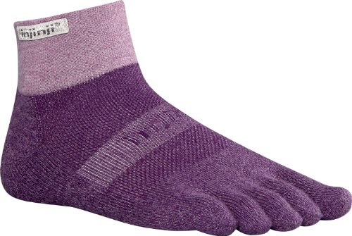 Injinji Injinji Men's Trail Midweight Mini Crew Toesocks, Plum, Small