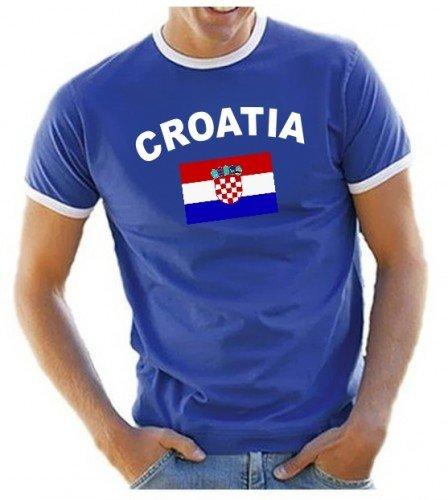 Kroatien T-Shirt Ringer Blau, Gr.M