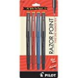 Pilot Razor Point Marker Stick Pens, Ultra Fine Point, Assorted Color Inks, 4-Pack (11045)