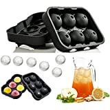 KARP™ Flexible Silicone Spherical 6 Round Ball Ice Cube Tray Maker Mold With Lid Perfect Ice Spheres For Whiskey...