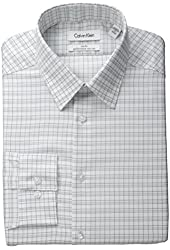 Calvin Klein Men's Slim-Fit Non-Iron Graphic Check Dress Shirt