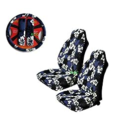A Set of 5 Pc. Universal-fit Hawaiian Front Bucket Seat Cover, Steering Wheel Cover and Shoulder Harness Pressure Relief Cover - Blue Hawaii Hibiscus Floral Print