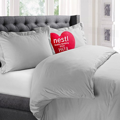 Nestl Bedding Duvet Cover, Protects and Covers your Comforter / Duvet Insert, Luxury 100% Super Soft Microfiber, Full (Double) Size, Color Light Gray, 3 Piece Duvet Cover Set Includes 2 Pillow Shams (Grey Hotel Comforter compare prices)