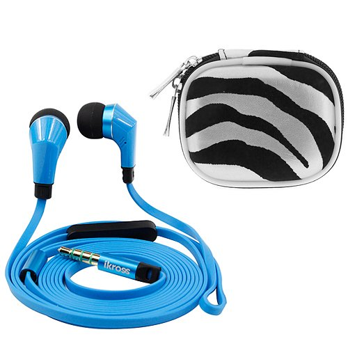 Ikross Blue / Black In-Ear 3.5Mm Noise-Isolation Stereo Earbuds With Microphone + Silver Zebra Accessories Carrying Case For Amazon Fire Phone Smartphone