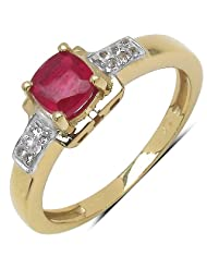 1.19CTW Genuine Glass Filled Ruby & White Topaz 14K Yellow Gold Plated .925 Sterling Silver Ring