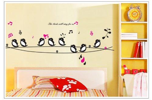 Oren Empower Oren Empower Singing Bird decorative PVC Vinyl Medium Wall Sticker for Home Decoration x 58 cm)