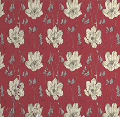Yasmin Red Floral Blossom Flower Natural Print Luxury Wallpaper