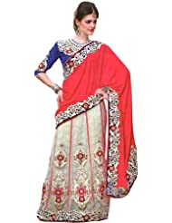 Exotic India Tomato And Cream Bridal Lehenga-Sari With Embroidered Flora - Cream