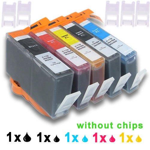 5 (1xSchwarz+1xFoto Schwarz+1xCyan+1xMagenta+1xGelb) Tintenpatronen Ersatz für HP 364XL komp. für HP (B010a B109 B109a B109d B109f B109n B110a B110c B110e B209 B209a B210a B210c B8550 B8553 C309 C309a C309g C309n C310a C410b C510a C5380 C5383 C5390 C6300 C6380 D5460 D7560)
