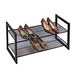 Bronze Angle Metallic 2 Tier Flat Stackable Shoe Rack by Richards Homewares