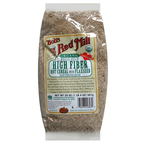 Bob's Red Mill Organic High Fiber Hot Cereal with Flaxseed, 20-Ounce Bags (Pack of 4)