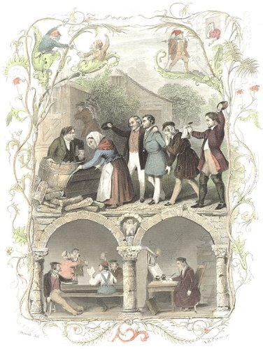 Germany: Student Life: Proctor: Drinking: Payne, Antique Print, 1847