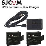 Generic 2PCS SJ4000 Battery Rechargable Battery + Dual Charger For SJCAM SJ4000 SJ5000 SJ5000X WIFI PLUS Sport...