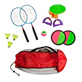 Combo outdoor play set of 3 Velcro catch Speed ball & Badminton in mesh carryon bag