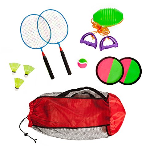 Combo-outdoor-play-set-of-3-Velcro-catch-Speed-ball-Badminton-in-mesh-carryon-bag